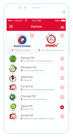 Royal Media Services Radio App interface
