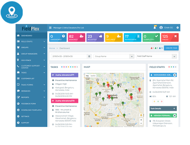 FieldPlex, best in class Mobile Field Service Management Suite interface