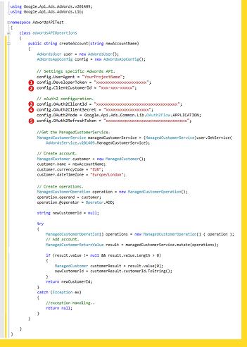 Sample code Google Ads integration