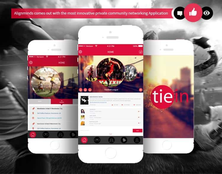 Tiein social networking app by AlignMinds