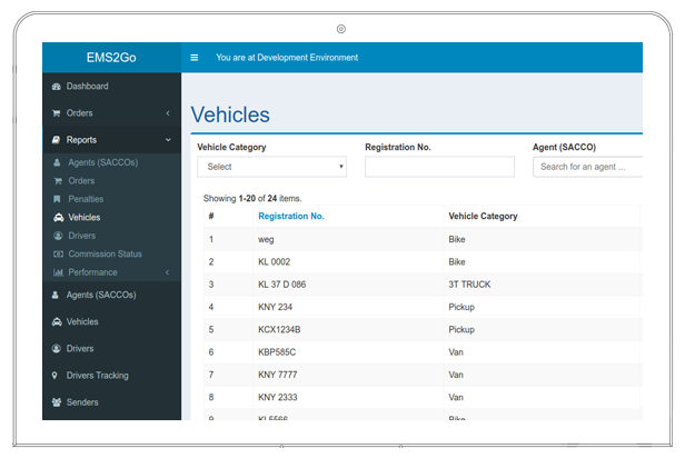 EMS2GO dashboard showing vehicles registration number and categories