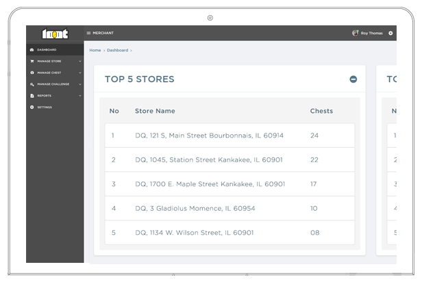 Loot app web dashboard showing top stores