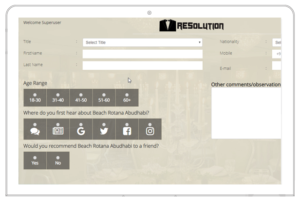 Resolution table booking screen