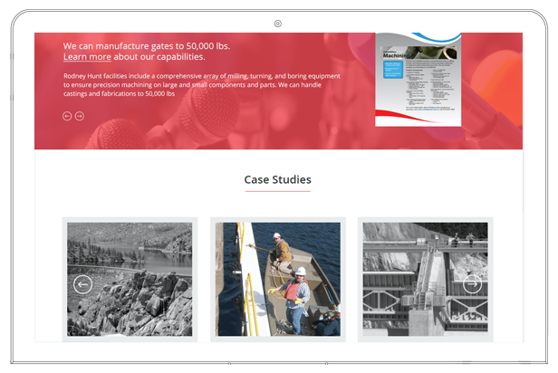 Rodney hunt website case studies section on the homepage